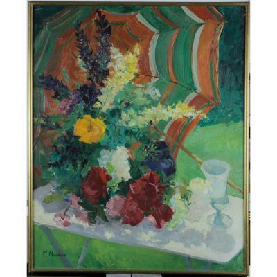 Maguy Hoebeke, 1918-2009, Eté, Table Fleurie Au Jardin, Etiquette d'exposition, Coté