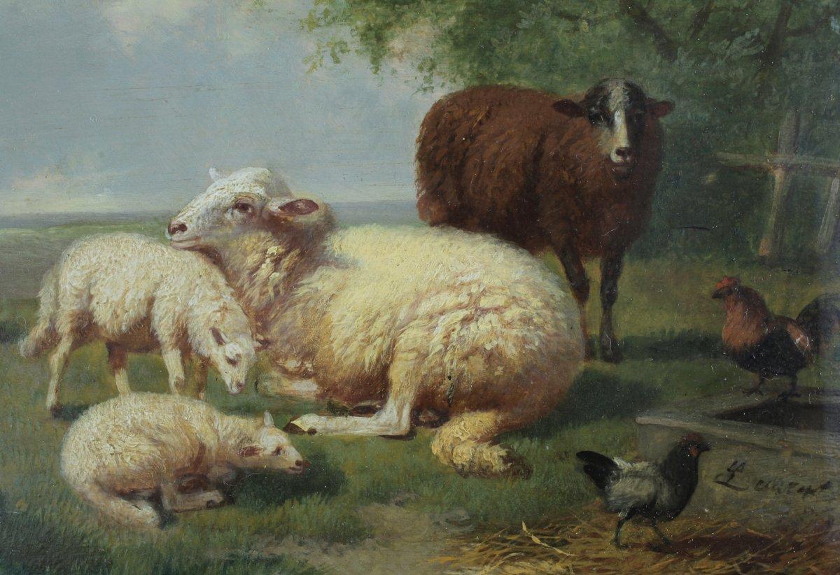 Peinture Animalière, Moutons Et Basse-cour, XIXe, 186..., Signé à Identifier