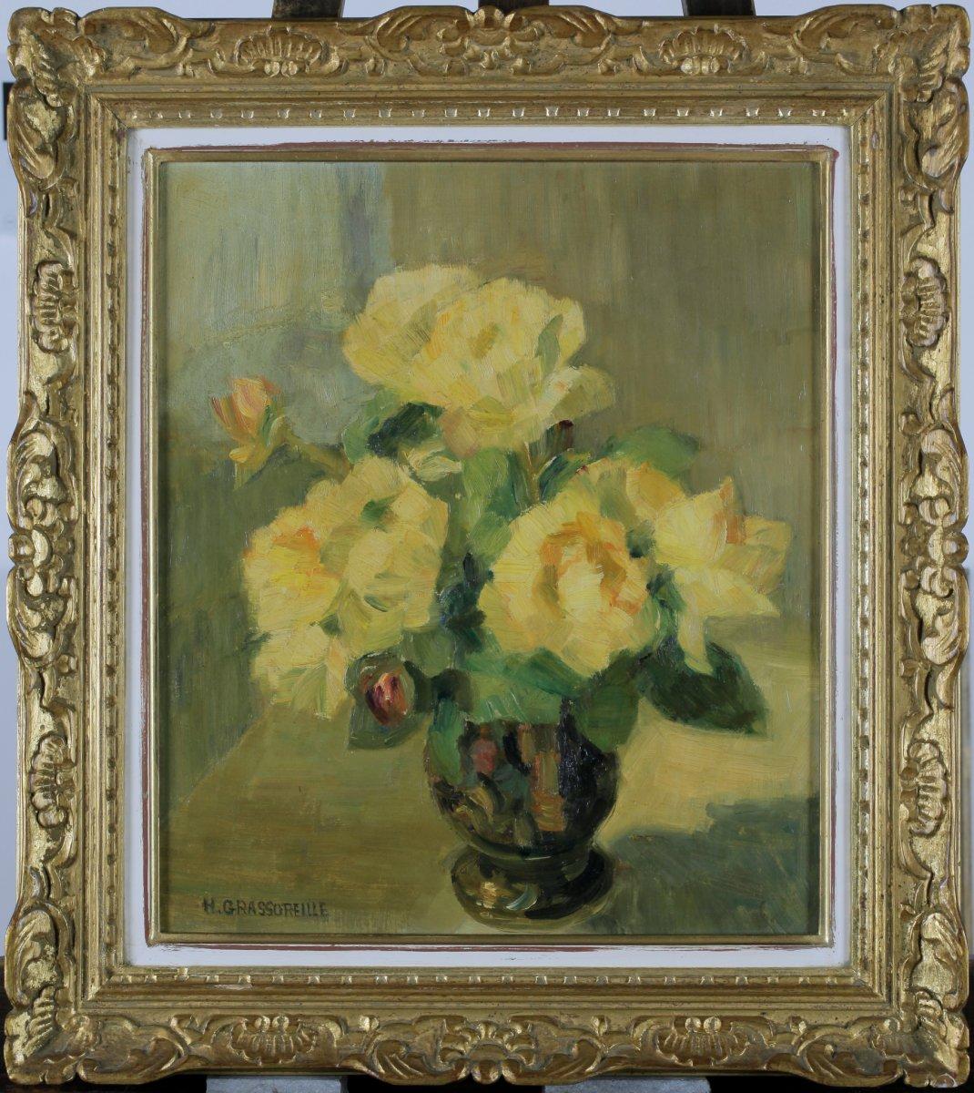 Henriette Grassoreille, XXe Siècle, France, Vincennes, Roses Jaunes, Benezit
