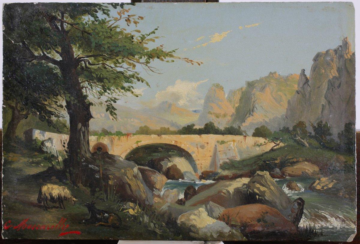 César Mascarelli, 1845, Paysage Du Midi ? Arrière Pays Niçois ? Corse ? Cotes Jusque 4.800 €