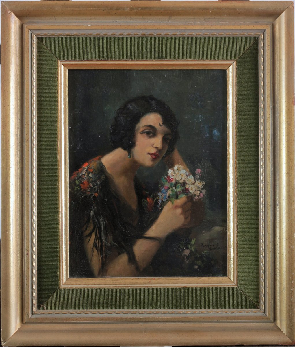 Raymond Charlot, 1879, Portrait, Lady, Young Woman With Bouquet Of Flowers, Price Up To 3.800 €