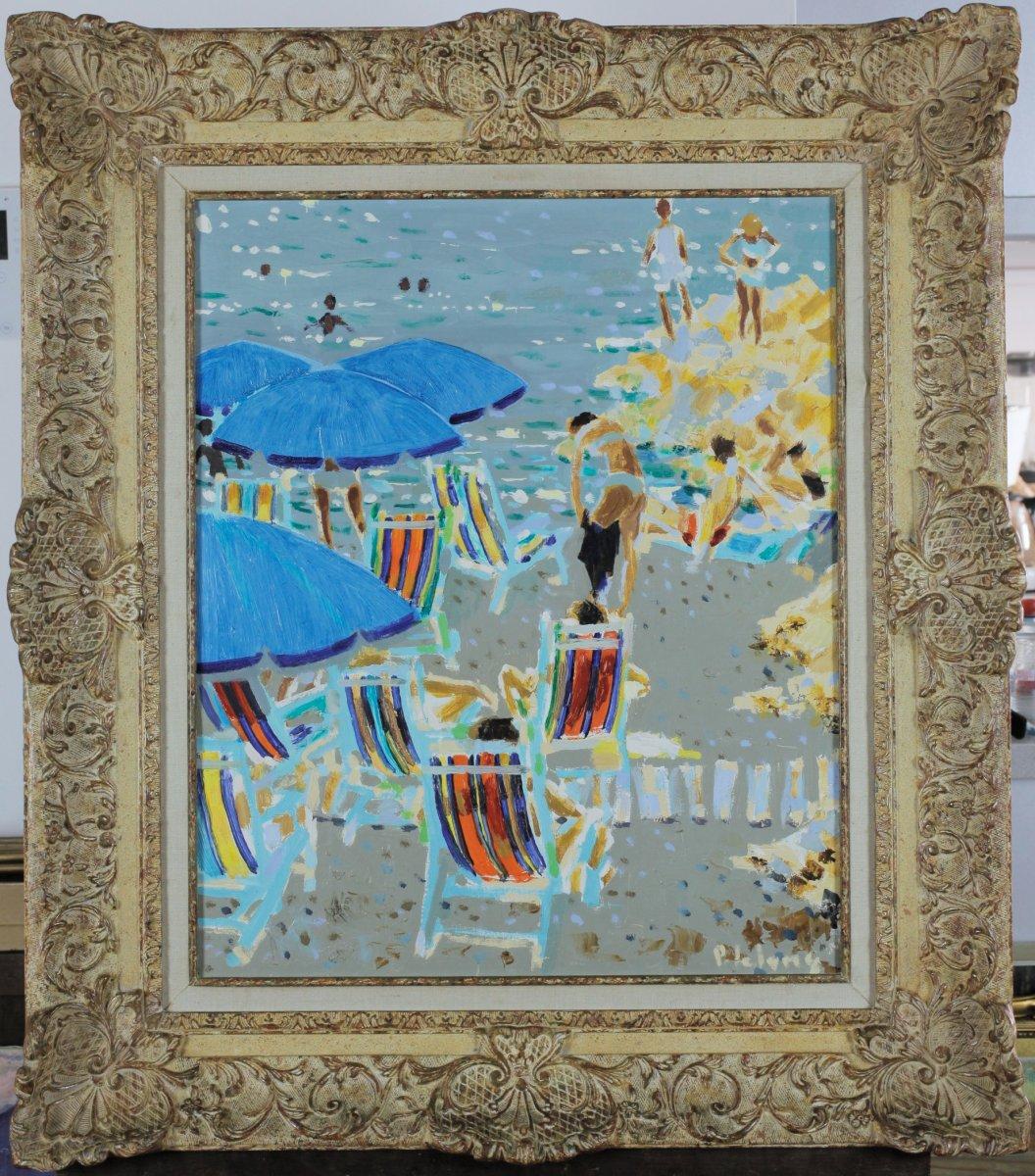 Pierre Emile Gabriel Lelong, 1908-1984, Les Parasols Bleus 1964, Label Galerie 65 In Cannes