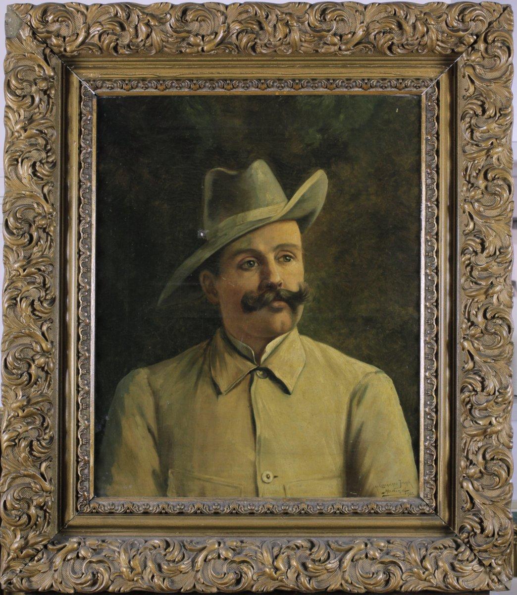 Portrait, Homme à La Moustache, Au Camarade Joseph, 1902, Signé à Identifier