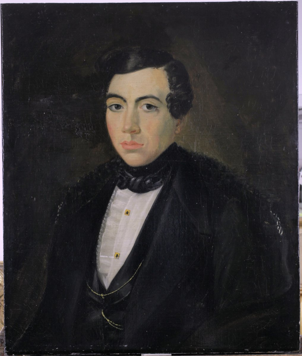 Old Table, Portrait, Man, Oil On Canvas, Attribution To The Back Of The Table
