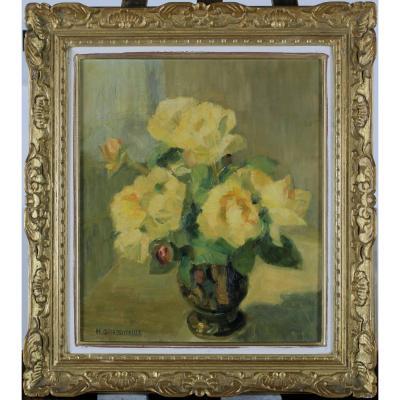 Henriette Grassoreille, XXth Century, France, Vincennes, Yellow Roses, Benezit