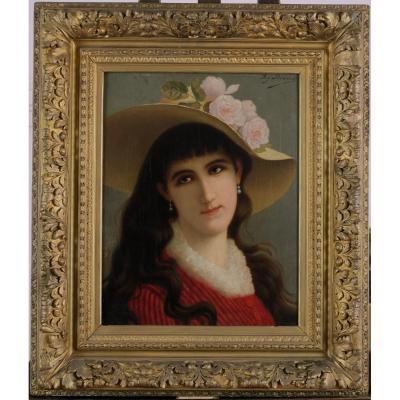 Agapit Stevens, 1849, Portrait, Jeune Femme, Cotation Jusque 15000 Euros