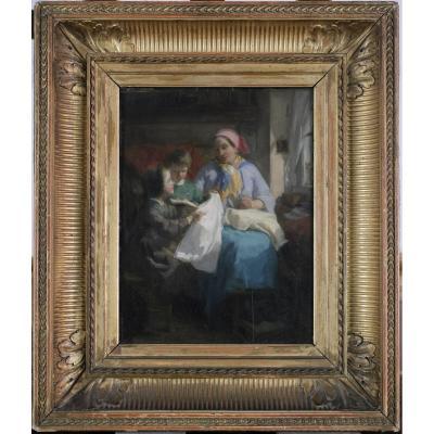 Théodore Gérard, 1829-1895, Scène de Famille, Tableau Intimiste, Coté Jusque 27.000 Euros