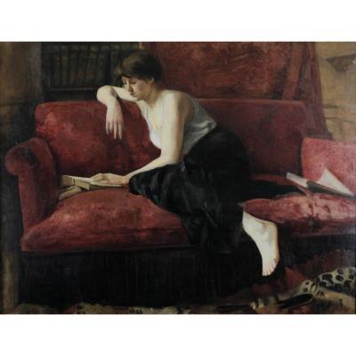 Anonyme, Circa 1920, Jeune Femme à La Lecture Sur Le Sofa Rouge, Grand Format