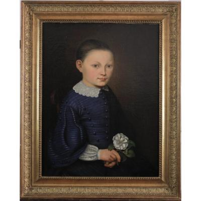 XIXth Century, Young Girl With Flower And Blue Dress, Oil On Canvas, Anonymous