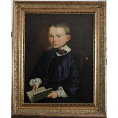 Portrait, XIXth Century, Young Boy In Collection Of Fables, Oil On Canvas, Anonymous.