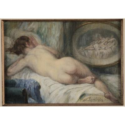 Jules Lentrein, 1875, Young Woman, Nude On The Table, Quotation 3.000 Euros