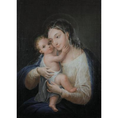 Religious Painting, Madonna, Madonna And Child, 19th Century, Signed To Identify