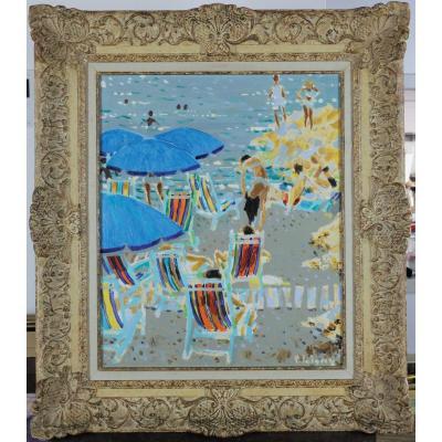 Pierre Emile Gabriel Lelong, 1908-1984, Les Parasols Bleus 1964, Etiquette Galerie 65 à Cannes