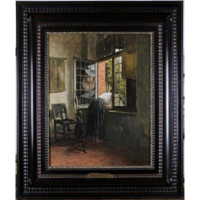 Emile Pottier, 1873-1907, La Bavarde, Jeune Femme à La Fenêtre, Circa 1900