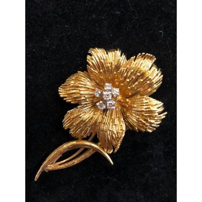 Broche Fleur Diamants