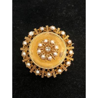 Broche demi-perles fines  Et Rose De Diamant
