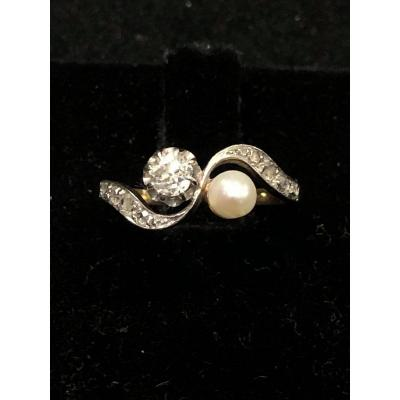 You And Me Diamond Pearl And Diamond Rose Ring