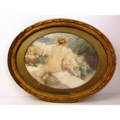 Tableau Aquarelle  Femme Nue Sur Balcon ANTOINE CALBET 1860/1944