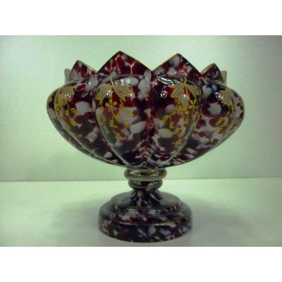 Coupe Verre Cristal Clichy Fin 19 Eme Debut  Eme Sur Pied Decor Vegetal Emaille Or