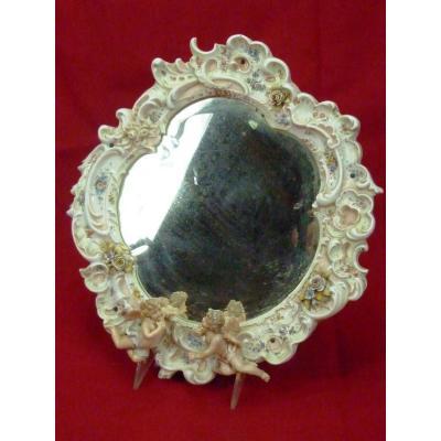 Miroir Aux Putti 19 Eme Porcelaine Allemagne Saxe Meissen