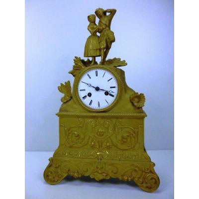 Pendulum Bronze Dore Cisele Dial Email 19 Romantic Eme