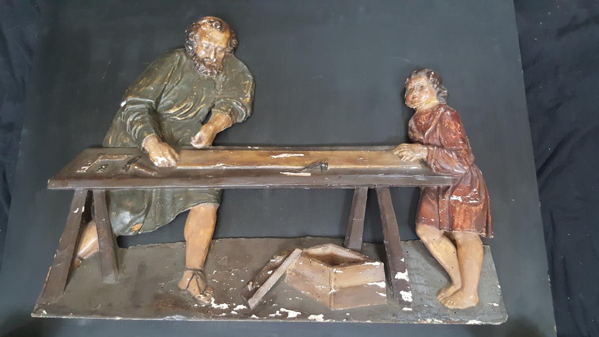 Bas Relief Sculpted Wood XVI Ème