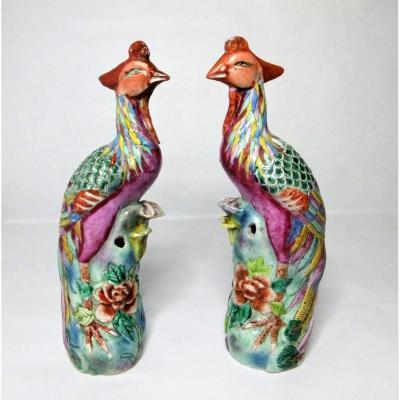 Phenix-porcelaine De Chine Famille Rose Fin XVIIIéme