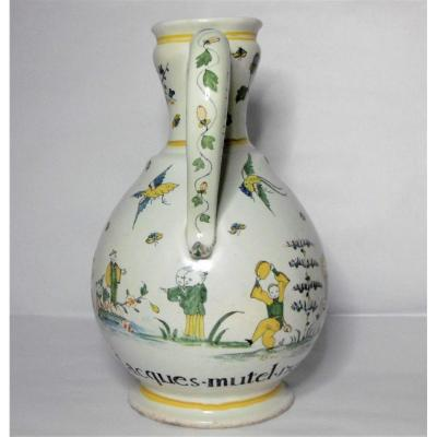 Rouen Patronymic Pitcher Jacques Mutel 1753 Ep. XVIIIth A Rocaille Decor And 6 Chinese