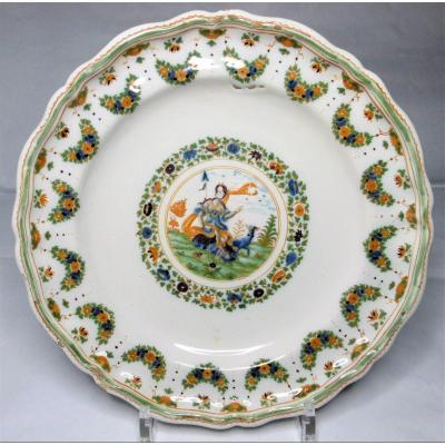 Mythological Plate In Moustiers Faience From The 18th Century, Mouans Exhibition