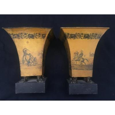Pair Of Vases Cornets In Lacquered Sheet, 1830