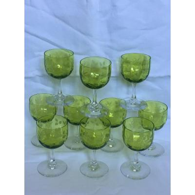 Chartreuse Green Engraved Crystal Glasses