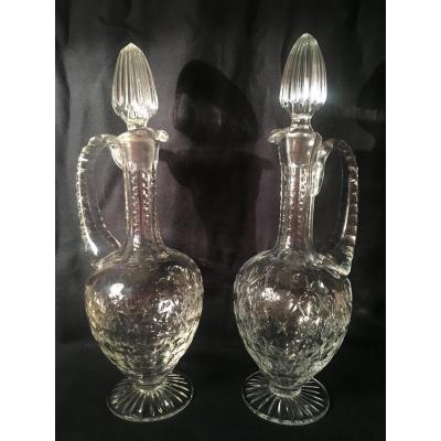 Pair Of Carafes In Cut Crystal Circa 1900