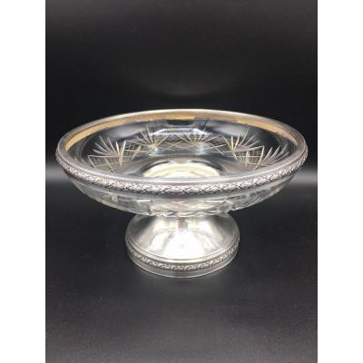 Pretty fruit bowl on foot and cut crystal and solid silver, Minerva punch, MS silversmith (possibly Soufflot and Company) from the late 19th and early 20th centuries. Dimensions height 13 cm diameter 24 cm