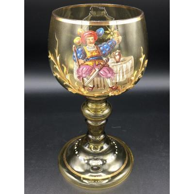 Large Enameled Crystal Vase, Bohemian Crystal? Large Enameled Crystal Vase, Bohemian Crystal? G