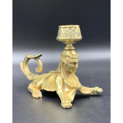 Bronze Hand Candle Holder, Sphinx, 19th