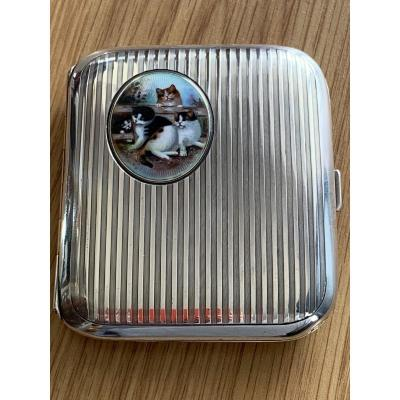 Cigarette Case In Silver And Enamel Paint Around 1900