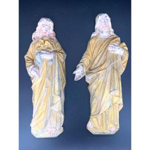 Pair Of Religious Sculptures In Polychrome Cast Iron, Jesus And Mary, 19th