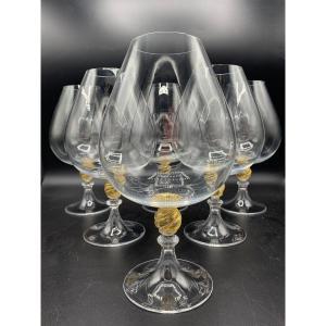 6 Grands Verres En Cristal De Murano , Barovier &Toso vers 1960