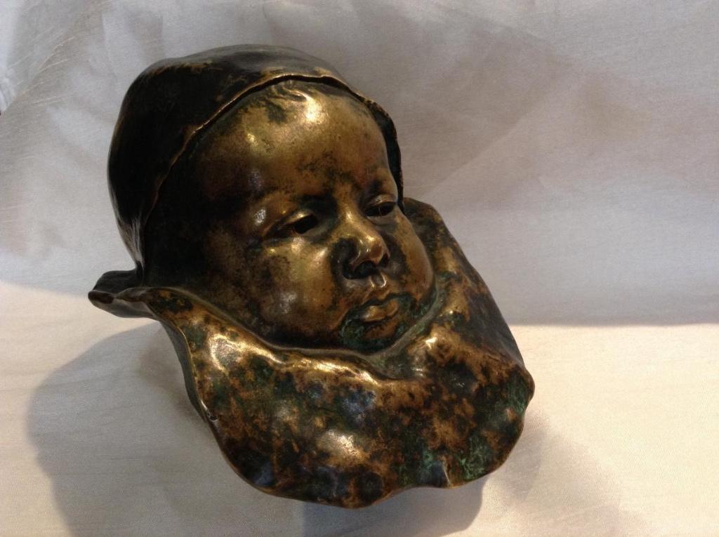 Tête De Bébé En Bronze 19ème