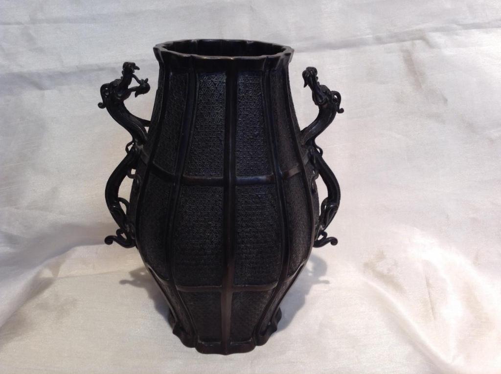 Vase Extreme Orient In Bronze 19th Decor Dragons