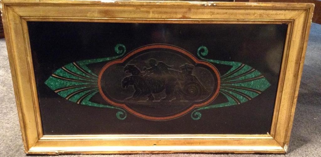 Plaque De Marbre Noir Gravée à Décor De Tigres Et Ange 19ème