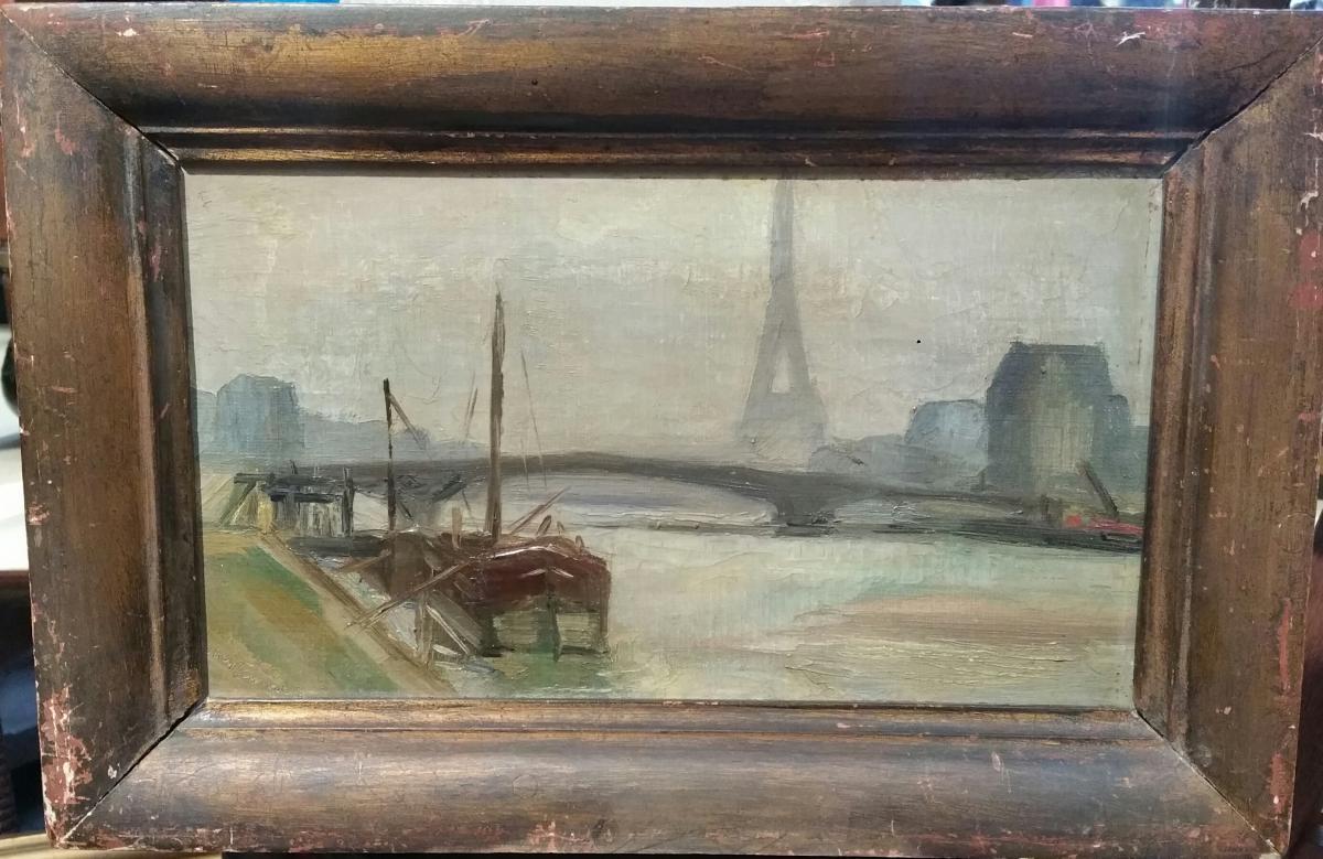 R. Lemercier -  Paris Tour Eiffel La Seine Huile S/toile Vers 1920