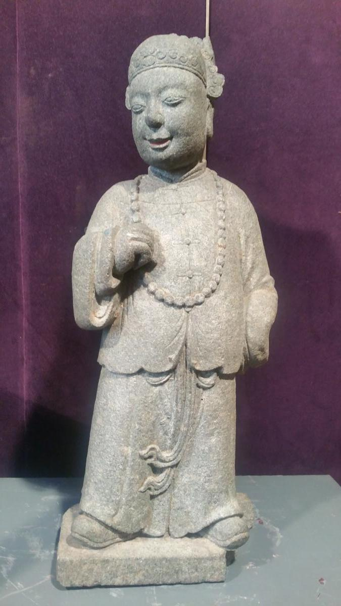 China 18th - Granite Sculpture Standing Dignitary