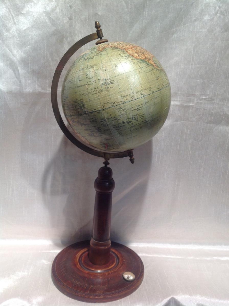 Mappemonde 19eme Avec Boussole Erd Globus
