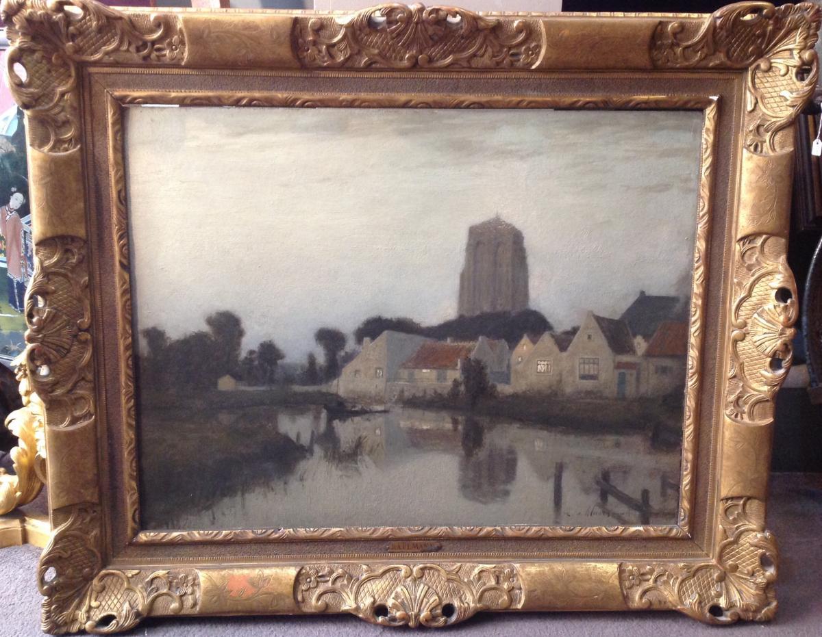 "Ra Ulmann - Painting ""landscape At Twilight"" 1910"