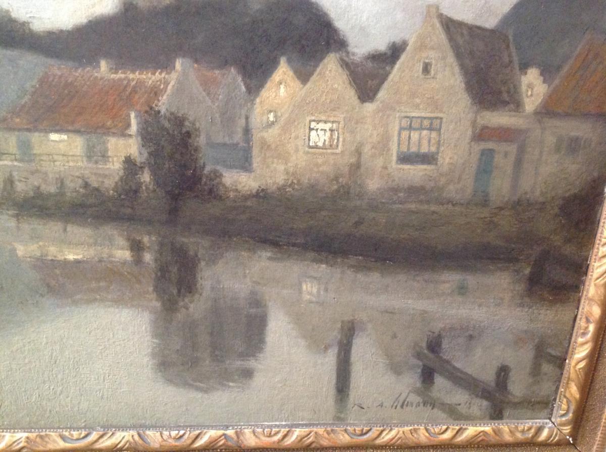 "Ra Ulmann - Painting ""landscape At Twilight"" 1910-photo-3"