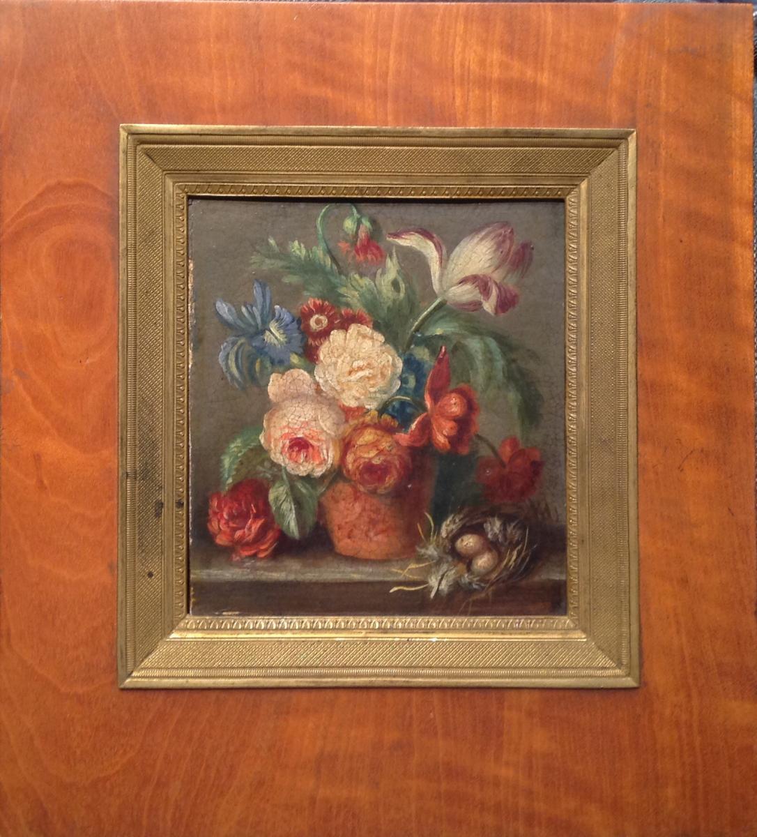 Tableau 19ème - Bouquet De Fleurs Et Nid d'Oiseau Huile Sur Bois