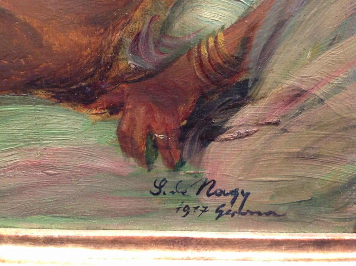 "Z. Nagy - Painting ""the Tigress"" Oil 1917-photo-1"