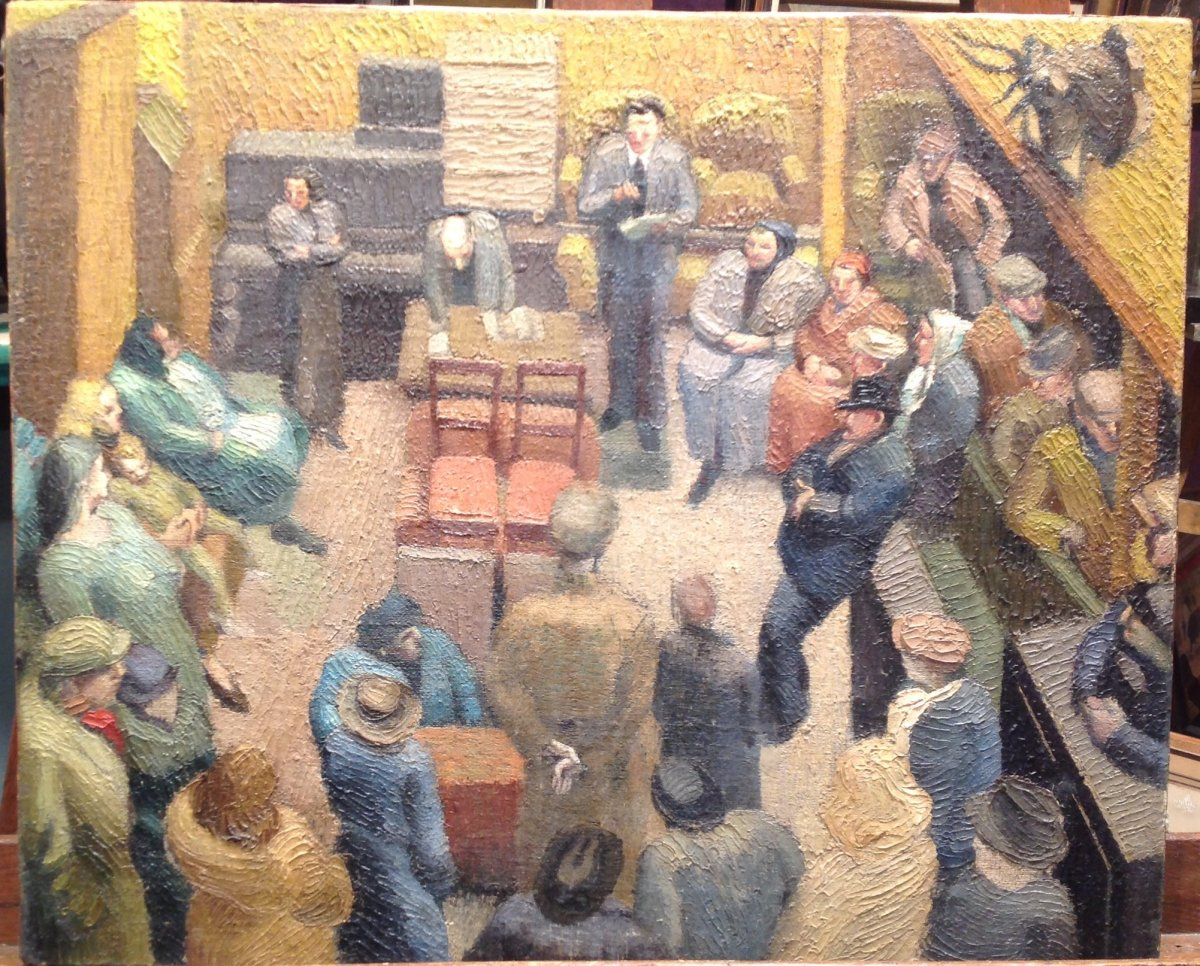Oil On Canvas - Assembly Of Villagers Or Court Around 1910