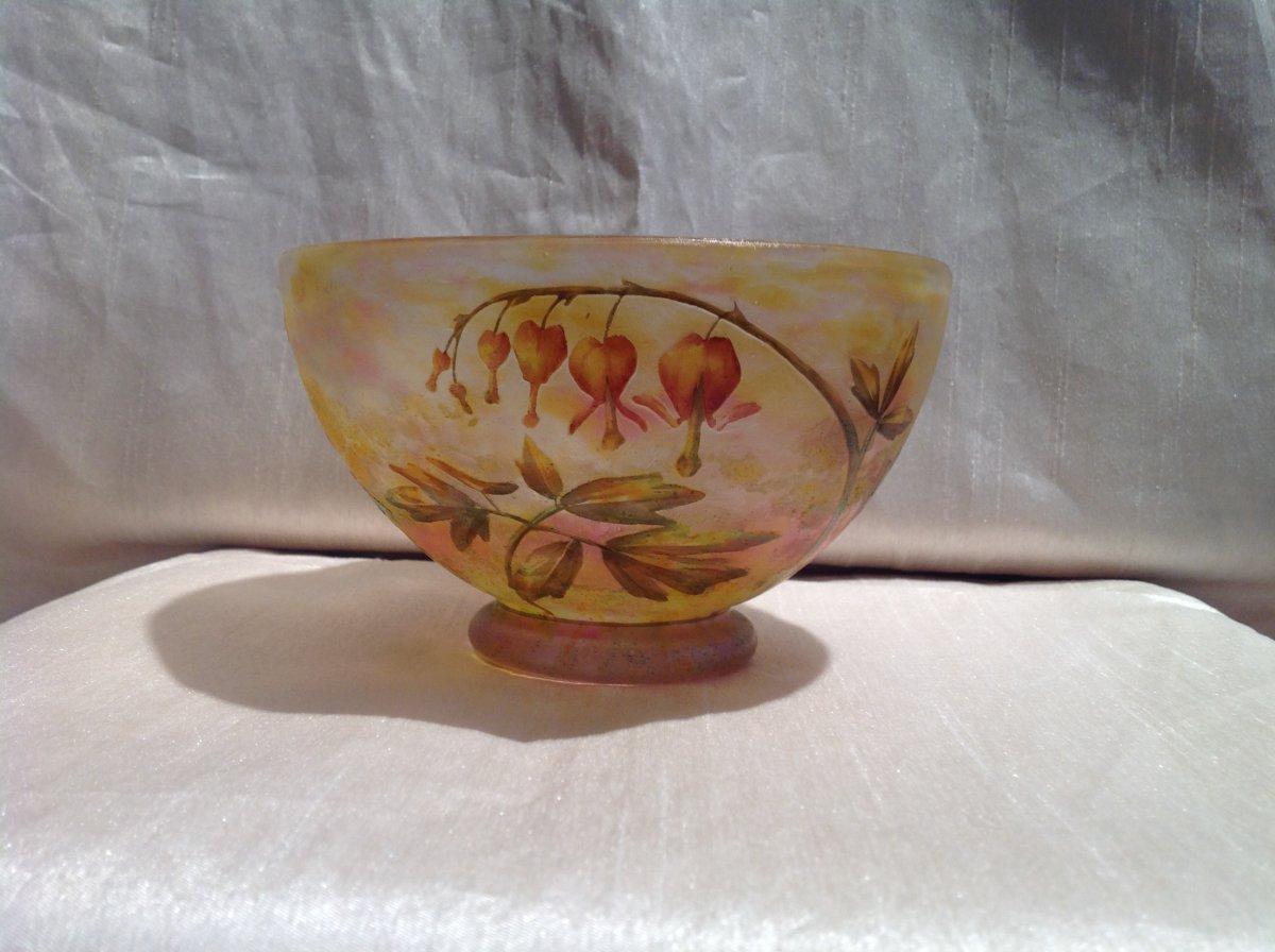 Daum - Art Nouveau Glass Paste Bowl With Bell Flowers Decor